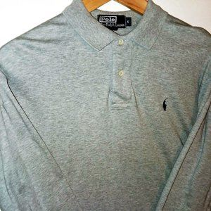 Polo by Ralph Lauren Long Sleeve Polo Gray Sz S